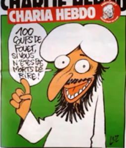 "2011 Charlie Hebdo cover depicting a cartoon figure of the Prophet Mohammed (comically identified as this edition's ""editor"") with a bubble saying, ""100 lashes if you're not dying of laughter.""  Just one example of CH's courageous brand of brilliantly biting satire..."