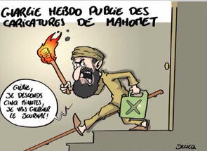 "CH congratulating its own significance while mocking Europe's Muslim underclass. The Caption: ""Charlie Hebdo publishes picture of Mohammed.""  The balloon: ""My dear, I am going down for 5 minutes, I'll get the newspaper.""  Punching down."