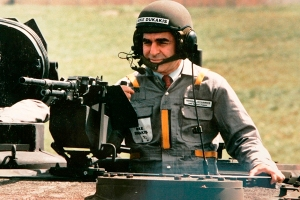 Comandante Dukakis in a secret rebel liberal commando training camp.