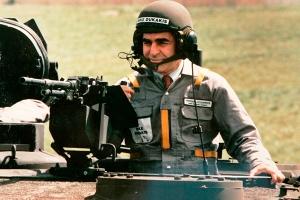 Comandante Dukakis in a secret rebel liberal commando training camp.
